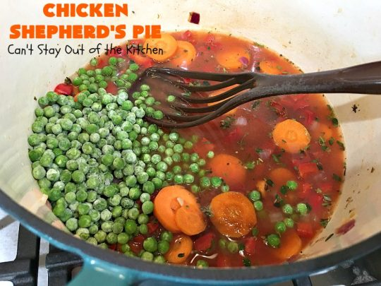 Chicken Shepherd's Pie | Can't Stay Out of the Kitchen | this #chicken version of #ShepherdsPie is spectacular. You'll never want to try another #recipe after sinking your teeth into this fantastic entree. #carrots #corn #peas #GreenBeans #GlutenFree #ChickenShepherdsPie