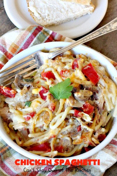 Chicken Spaghetti | Can't Stay Out of the Kitchen | this awesome #TexMex #chicken entree is delicious for company dinners. The recipe makes 2 #casseroles. One for now and one to freeze for later! #pasta #spaghetti #cheese