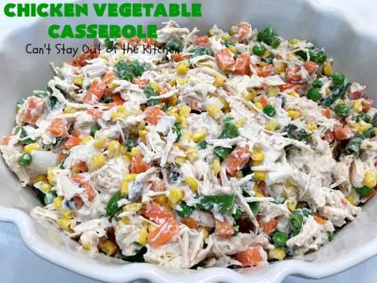 Chicken Vegetable Casserole | Can't Stay Out of the Kitchen | this #chicken #casserole is a delicious one-dish meal for busy week night dinners. We found it sumptuous as well as economical! Great way to use up leftover #RotisserieChicken too. #ChickenCasserole #ChickenVegetableCasserole #CheddarCheese #MixedVegetables