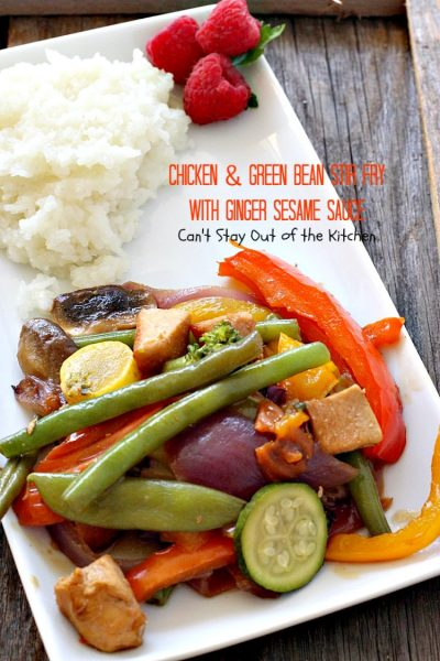 Chicken and Green Bean Stir Fry with Ginger Sesame Sauce | Can't Stay Out of the Kitchen | this delicious main dish uses lots of fresh veggies in a fantastic ginger sesame sauce. Healthy, low calorie, #glutenfree. #chicken