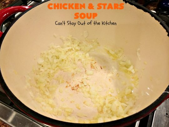 Chicken and Stars Soup | Can't Stay Out of the Kitchen | this #soup really is a #ChickenSoup for the soul! It uses finely diced #chicken, homemade #chickenbroth, #carrots & #stelline or star-shaped #pasta in a tasty soup that's wonderful comfort food for fall or winter.