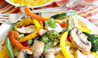Chicken and Veggie Stir Fry Over Spaghetti Squash