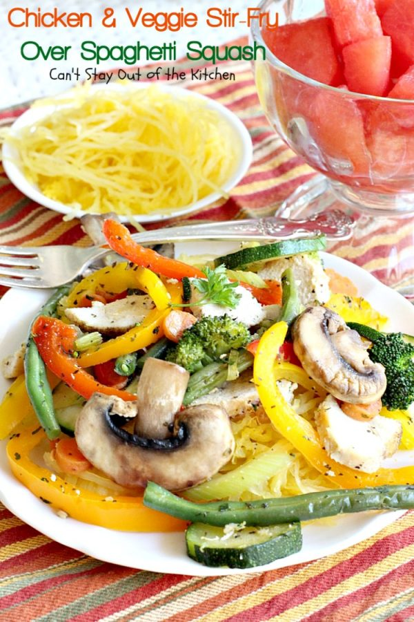 Chicken and Veggie Stir-Fry Over Spaghetti Squash   Can't Stay Out of the Kitchen