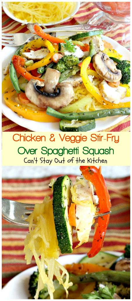 Chicken and Veggie Stir-Fry Over Spaghetti Squash | Can't Stay Out of the Kitchen