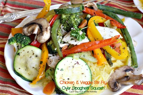 Chicken & Veggie Stir-Fry Over Spaghetti Squash | Can't Stay Out of the Kitchen | fabulous #stirfry dish with #chicken and a ton of #veggies. Healthy, #lowcalorie and #glutenfree.