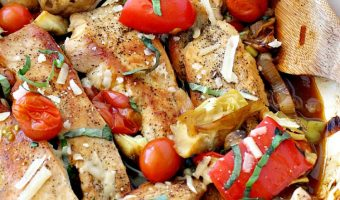 Chicken with Mushrooms, Tomatoes and Artichokes
