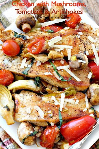 Chicken with Mushrooms, Tomatoes and Artichokes | Can't Stay Out of the Kitchen | this scrumptious one-dish #chicken skillet dinner is the perfect entree for weeknights. It only takes about 30 minutes, plus it's healthy, clean eating and #glutenfree. #tomatoes #artichokes