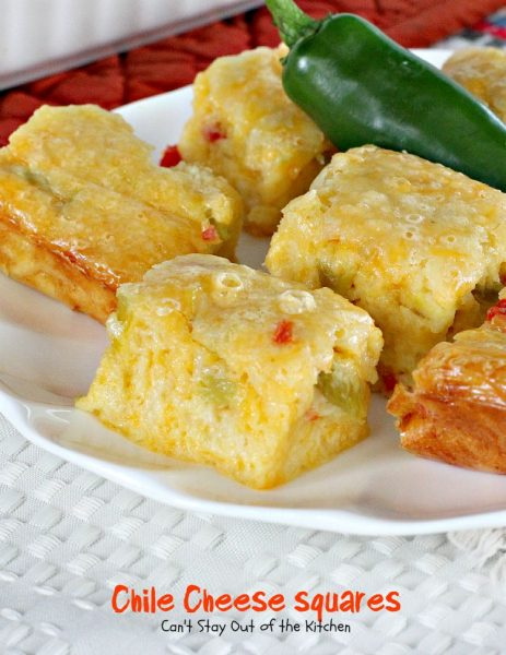 Chile Cheese Squares | Can't Stay Out of the Kitchen | this fabulous #Tex-Mex side dish can be served for #breakfast as a side with chili or soup or as an #appetizer.