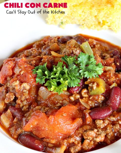 Favorite Chili Con Carne | Can't Stay Out of the Kitchen | this is our favorite #chili recipe. Perfect comfort food for fall & winter nights! #soup #glutenfree