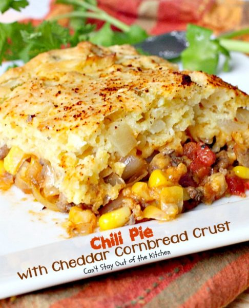"Chili Pie with Cheddar Cornbread Crust | Can't Stay Out of the Kitchen | fabulous ""Tex-Mex #maindish that's like eating #chili and #cornbread together in #casserole form. It's absolutely wonderful. #glutenfree"