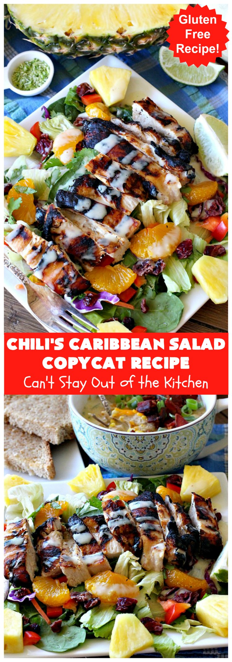 Chili's Caribbean Salad Copycat Recipe with Honey-Lime Dressing | Can't Stay Out of the Kitchen | this is a spectacular #CopyCat #recipe of this favorite #salad. The #SaladDressing is also fantastic. #GlutenFree #chicken #pineapple #MandarinOranges #HoneyLimeDressing #ChilisCaribbeanSalad #ChilisCaribbeanSaladCopycatRecipeWithHoneyLimeDressing