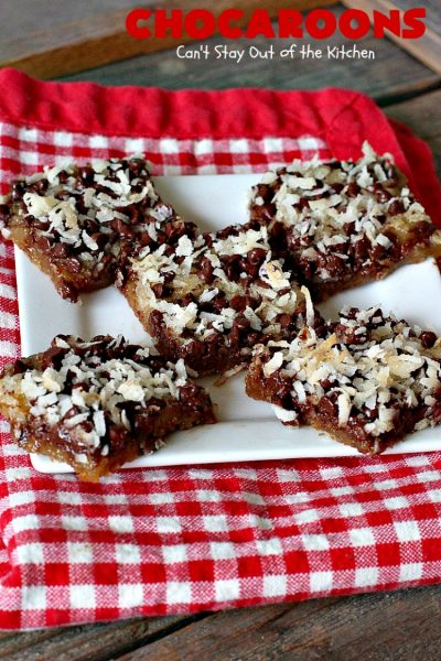 Chocaroons | Can't Stay Out of the Kitchen | these #chocolate & #coconut #brownies will have you drooling after the first bite! So quick & easy, you can have these ready to eat in 30 minutes! Great for #tailgating or #holiday parties. #dessert
