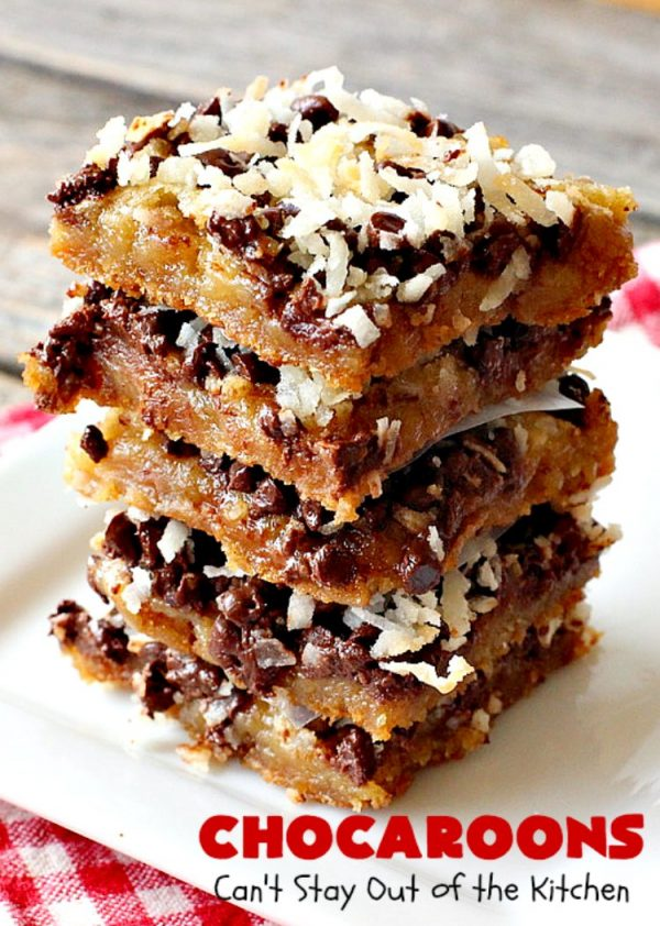 Chocaroons   Can't Stay Out of the Kitchen   these #chocolate & #coconut #brownies will have you drooling after the first bite! So quick & easy, you can have these ready to eat in 30 minutes! Great for #tailgating or #holiday parties. #dessert