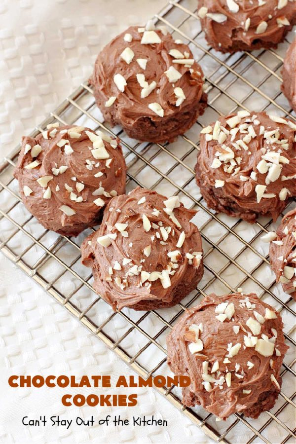 Chocolate Almond Cookies | Can't Stay Out of the Kitchen | these #cookies are divine! Heavenly combination of #chocolate & #almonds in cookie and frosting. #dessert #ChocolateDessert #ChocolateAlmondCookies #holiday #HolidayBaking