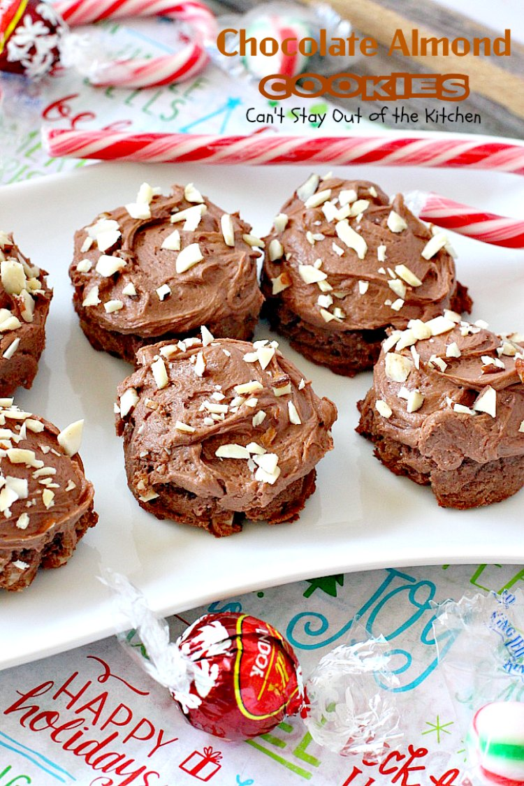 Chocolate Almond Cookies | Can't Stay Out of the Kitchen | these #cookies are divine! Heavenly combination of #chocolate & #almonds in cookie and frosting. #dessert