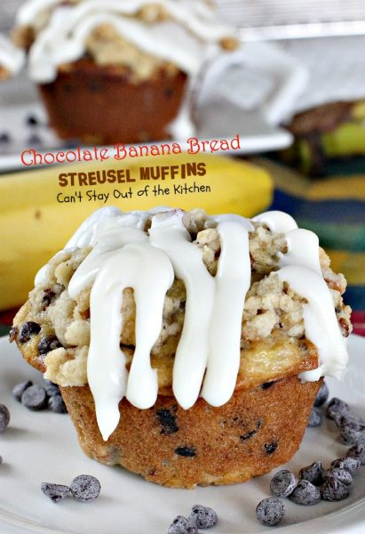 Chocolate Banana Bread Streusel Muffins | Can't Stay Out of the Kitchen | some of the richest, most scrumptious #muffins you'll ever eat. Great for a #holiday #breakfast. These are loaded with #bananas #chocolatechips #pecans.