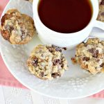 Chocolate Banana Streusel Muffins | Can't Stay Out of the Kitchen | these delicious #muffins are irresistible. They're filled with #bananas & topped with a streusel made from miniature #ChocolateChips & brown sugar. Once the muffins bake, the top turns to #toffee! So mouthwatering. #breakfast #chocolate #HolidayBreakfast #Easter #MothersDay #EasterBreakfast #MothersDayBreakfast #ChocolateMuffins #BananaMuffins #ToffeeMuffins
