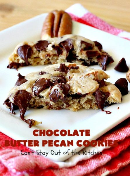 Chocolate Butter Pecan Cookies | Can't Stay Out of the Kitchen | these 5-ingredient #cookies are absolutely irresistible! They're made with #pecans, #ButterPecan #CakeMix & loads of #ChocolateChips. Every bite is rich, decadent & heavenly. #tailgating #dessert #ButterPecanDessert #ChocolateDessert #chocolate #ChristmasCookieExchange #ChocolateButterPecanCookies #baking #ChocolateChipCookies #Holiday #HolidayBaking