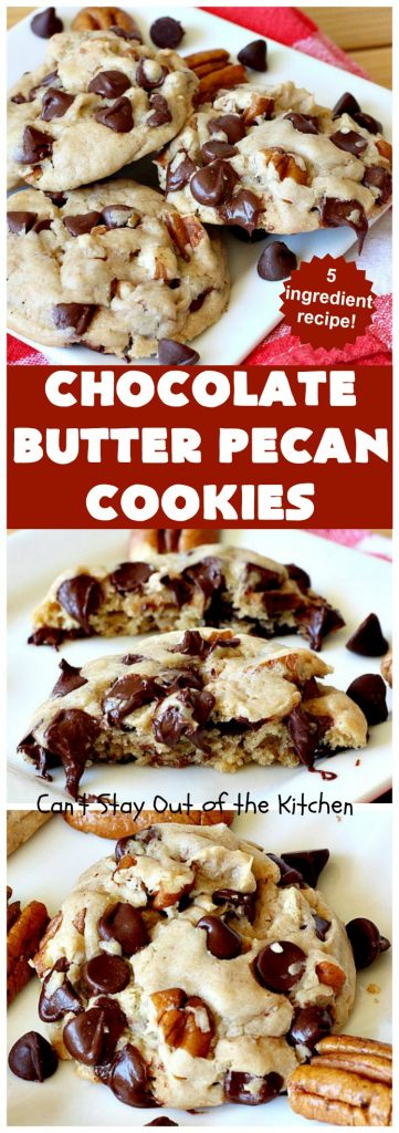 Chocolate Butter Pecan Cookies |  Can't Stay Out of the Kitchen