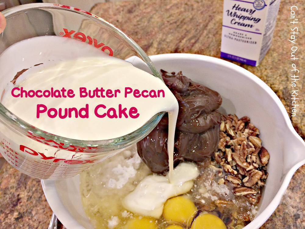 place butter pecan cake mix eggs chocolate frosting and pecans in a ...