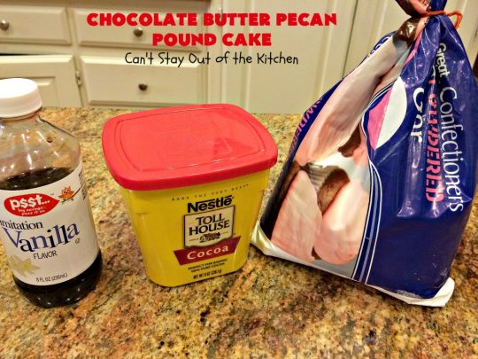 Chocolate Butter Pecan Pound Cake | Can't Stay Out of the Kitchen | this is one of the best #chocolate cakes ever! This easy #dessert uses a #ButterPecan #cake mix. Perfect for #holidays like #ValentinesDay or for company.