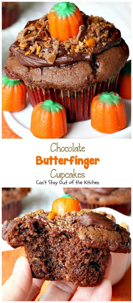 Chocolate Butterfinger Cupcakes | Can't Stay Out of the Kitchen