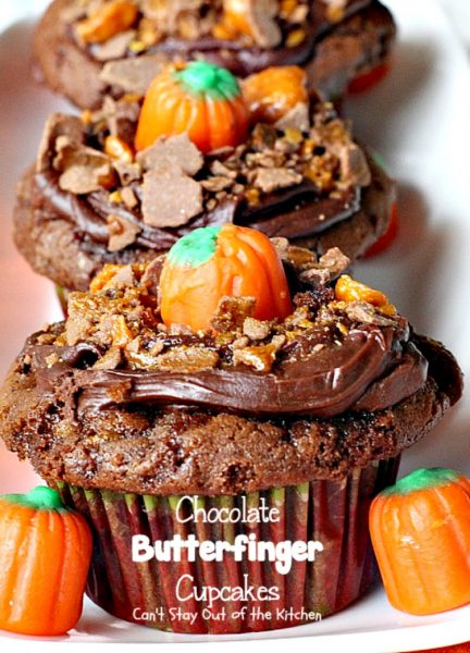 Chocolate Butterfinger Cupcakes | Can't Stay Out of the Kitchen | these fantastic #chocolate #cupcakes are filled with #ButterfingerBites and spread with #Hershey's dark roast chocolate frosting then they're sprinkled with more #butterfinger deliciousness on top! #dessert