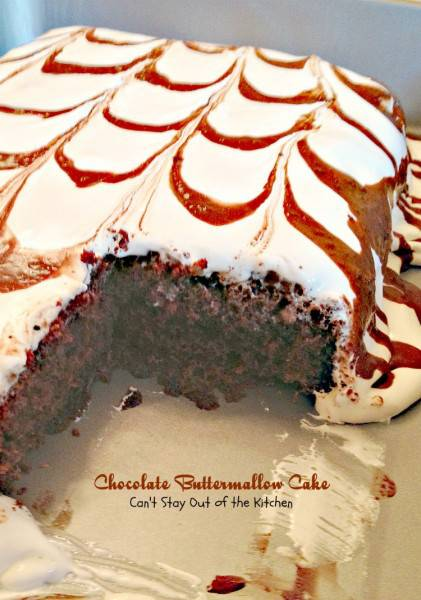 Chocolate Buttermallow Cake | Can't Stay Out of the Kitchen | this luscious #chocolate #cake has a #toffee layer underneath a scrumptious #marshmallow frosting. #dessert