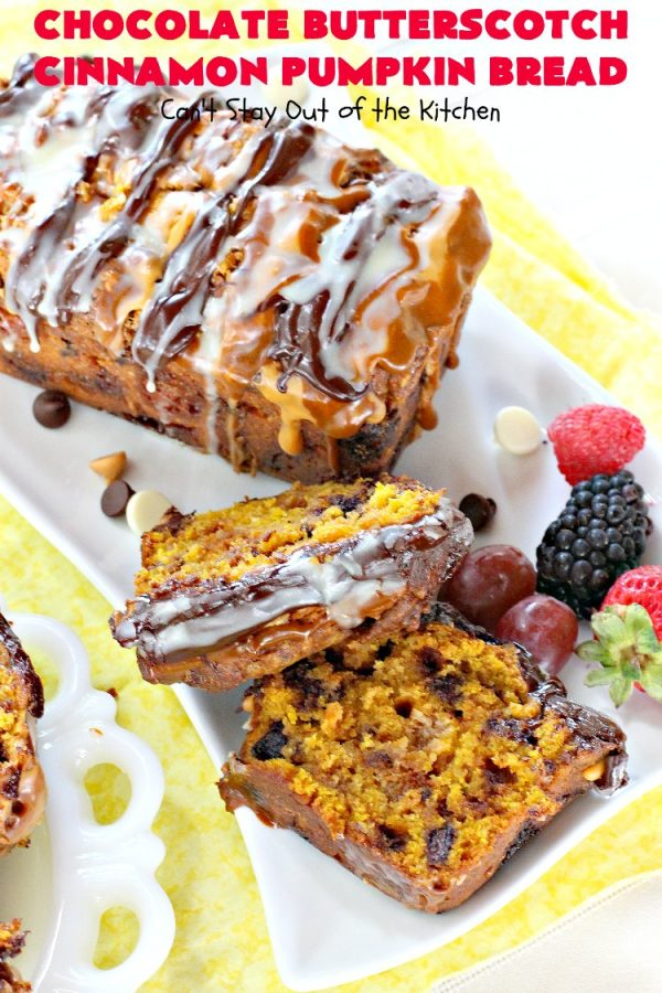 Chocolate Butterscotch Cinnamon Pumpkin Bread | Can't Stay Out of the Kitchen | this outrageous #pumpkin #bread includes #chocolate, white chocolate, #butterscotch & #cinnamon chips. It's iced with all four flavors too. Perfect bread for #fall #baking or #Thanksgiving.