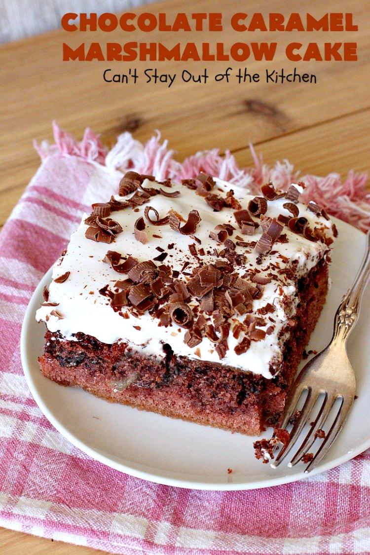 Chocolate Caramel Marshmallow Cake