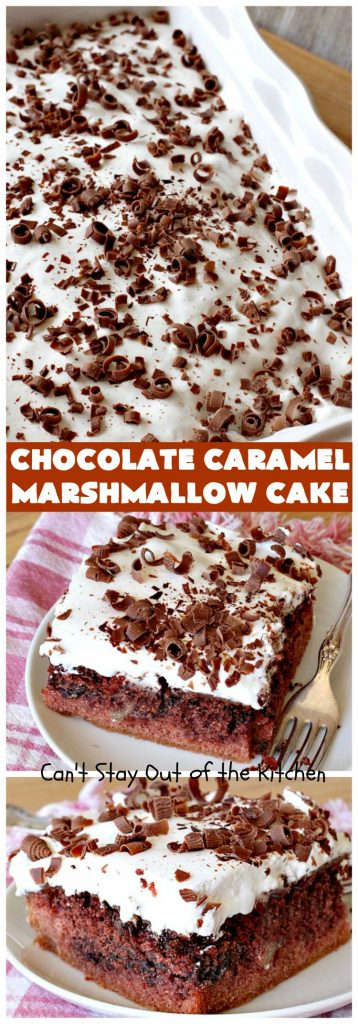 Chocolate Caramel Marshmallow Cake | this spectacular #chocolate #cake has a #caramel-like #praline filling & #marshmallow frosting. It's to die for! Terrific for company &  #holidays like #MothersDay or #FathersDay. #toffee #ChocolateCake #HolidayDessert #MothersDayDessert #FathersDayDessert #ChocolateCaramelMarshmallowCake #ChocolateDessert #CaramelDessert #ToffeeDessert #MarshmallowDessert