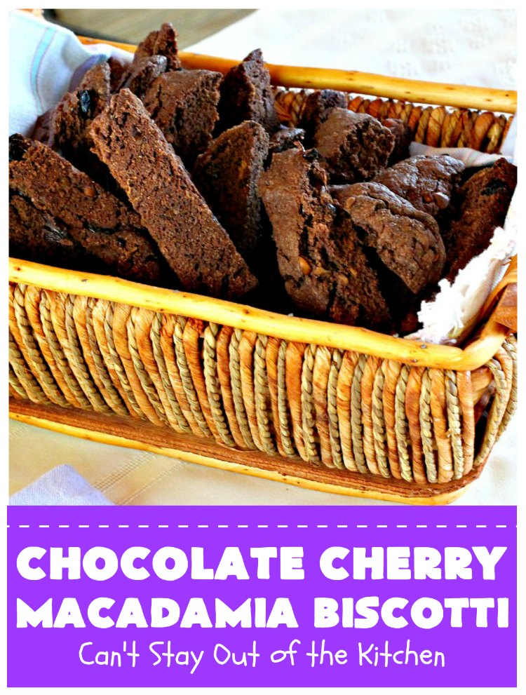 Chocolate Cherry Macadamia Biscotti | Enjoy a cup of coffee or tea with this fantastic #biscotti. It's made with dried #cherries, toasted #MacadamiaNuts & #chocolate! Excellent #breakfast idea for company or #holidays. #ChocolateCherryMacadamiaBiscotti