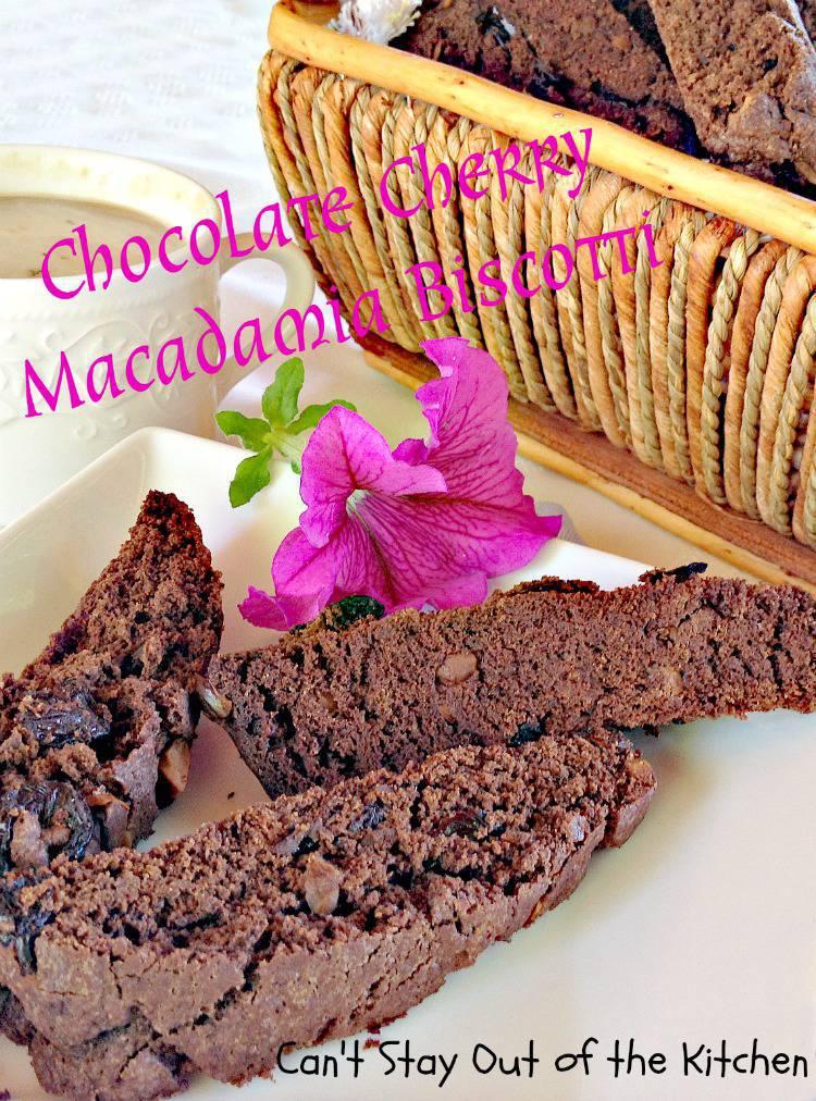 Chocolate Cherry Macadamia Biscotti