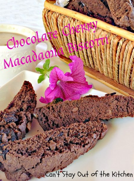 Chocolate Cherry Macadamia Biscotti | Can't Stay Out of the Kitchen