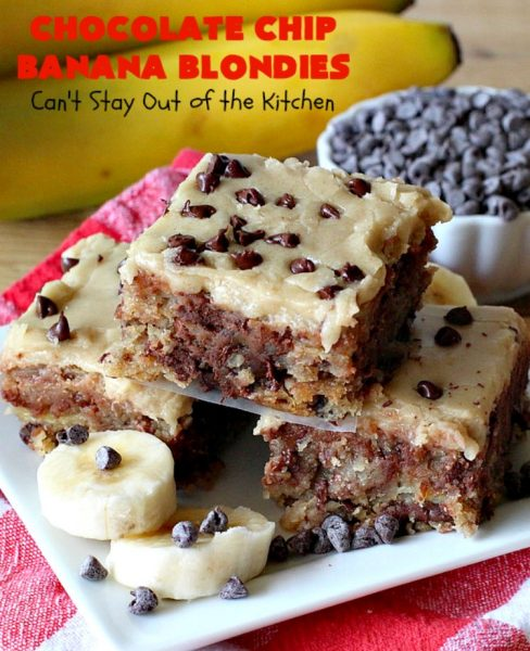 Chocolate Chip Banana Blondies | Can't Stay Out of the Kitchen | these fantastic #brownies will gob smack you from the first bite! You get a dose of #chocolate & use up overripe #bananas at the same time. Great #dessert for #tailgating parties, potlucks or summer #holiday activities. #cookie #pecans #ChocolateChips #ChocolateChipBananaBlondies