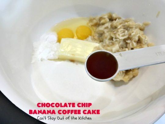 Chocolate Chip Banana Coffee Cake | Can't Stay Out of the Kitchen | this rich, decadent, chocolaty #CoffeeCake will knock your socks off. While we served it for #breakfast, it's also great as a #dessert. It's loaded with #bananas, #walnuts & miniature #ChocolateChips. It has a fudgy #chocolate glaze that amps up the flavors even more! #ChocolateChipBananaCoffeeCake #Holiday #HolidayBreakfast #Thanksgiving #Christmas #cake #ChocolateDessert #BananaDessert