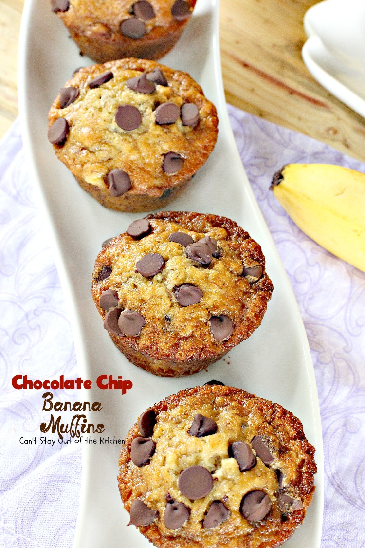 Chocolate Chip Banana Muffins - Can't Stay Out of the Kitchen