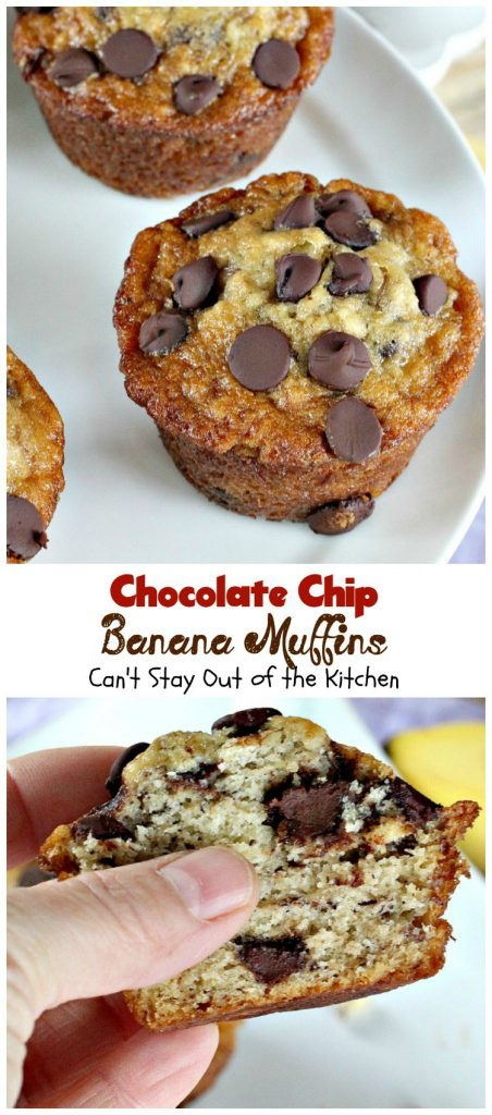 Chocolate Chip Banana Muffins | Can't Stay Out of the Kitchen