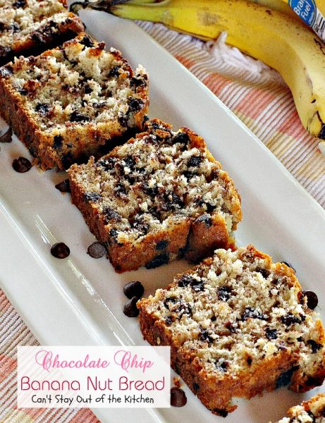 Chocolate Chip Banana Nut Bread | Can't Stay Out of the Kitchen | our favorite #bananabread. This one is loaded with #walnuts and #chocolatechips. #bread #breakfast #chocolate