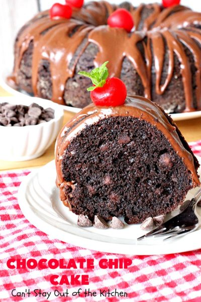 Chocolate Chip Cake | Can't Stay Out of the Kitchen | this lovely #chocolate #cake has triple the chocolate flavor with #CakeMix, #ChocolatePudding & chocolate chips. It's so quick & easy to make, too. Everyone always loves it! #Dessert #ChocolateCake #ChocolateDessert #ChocolateChipCake #ChocolateChipDessert #EasyChocolateCake #ValentinesDay #ValentinesDayDessert