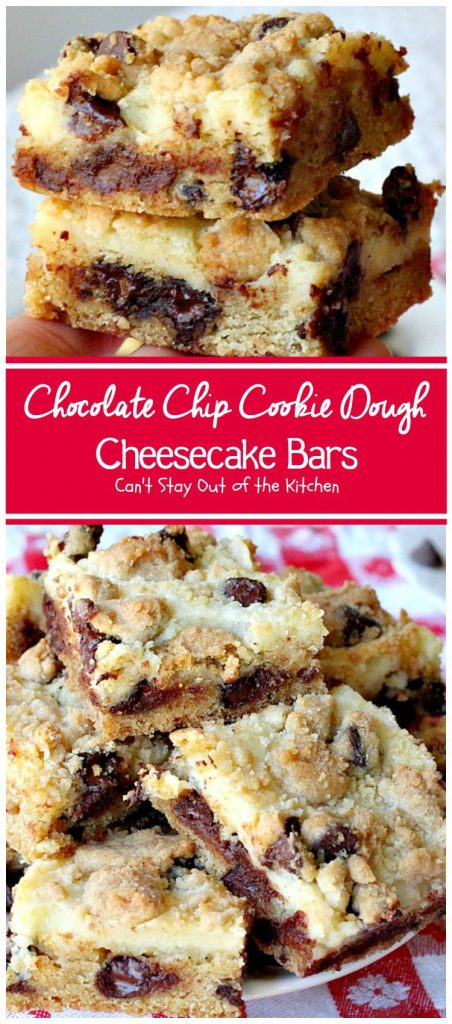 Chocolate Chip Cookie Dough Cheesecake Bars | Can't Stay Out of the Kitchen