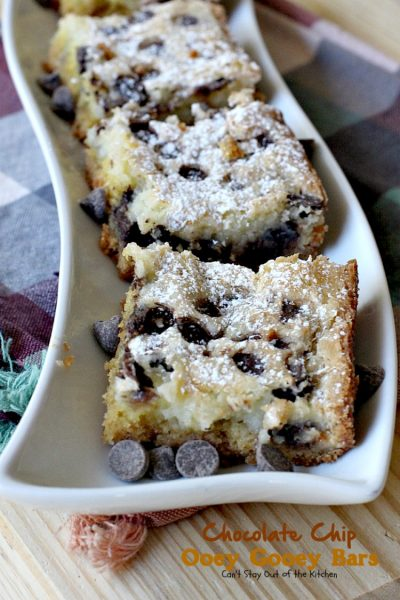 Chocolate Chip Ooey Gooey Bars | Can't Stay Out of the Kitchen | these luscious #blondies are ooey-gooey and so delicious. Wonderful for #holiday parties too. #dessert #chocolate