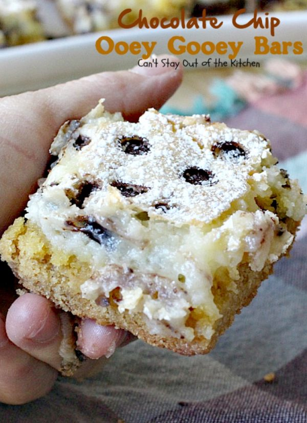 Chocolate Chip Ooey Gooey Bars | Can't Stay Out of the Kitchen