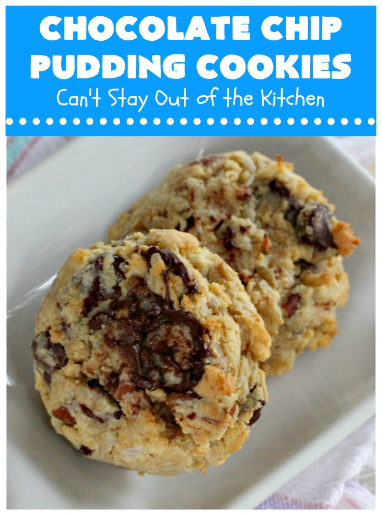 Chocolate Chip Pudding Cookies | Can't Stay Out of the Kitchen | these fabulous #cookies start with the famous #NanaimoBars so they're rich and decadent. They're filled with #chocolate chips, #coconut, #GrahamCracker crumbs, #pecans & buttercream icing made from vanilla pudding! Terrific for #tailgating or #holiday parties. #ChocolateChipPuddingCookies