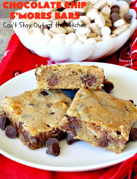 Chocolate Chip S'Mores Bars | Can't Stay Out of the Kitchen | these amazing #brownies use #chocolatechips & #Hersheys #SmoresBakingPieces. They're absolutely delightful and terrific for any kind of potluck, backyard barbecue or #holiday #baking. #Tailgating #Smores #chocolate