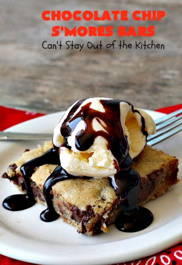 Chocolate Chip S'Mores Bars   Can't Stay Out of the Kitchen   these amazing #brownies use #chocolatechips & #Hersheys #SmoresBakingPieces. They're absolutely delightful and terrific for any kind of potluck, backyard barbecue or #holiday #baking. #Tailgating #Smores #chocolate