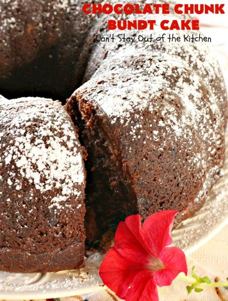 Chocolate Chunk Bundt Cake | Can't Stay Out of the Kitchen | this spectacular #BundtCake starts with a #cakemix & #chocolate #pudding mix. It uses only 7 ingredients so it's incredibly quick & easy. Perfect for #holidays like #Easter or #MothersDay. It's even great for #breakfast, especially if you like #chocolate! #ChocolateChips #cake #ChocolateCake #Holiday #HolidayDessert #Brunch #HolidayBreakfast #EasterBreakfast