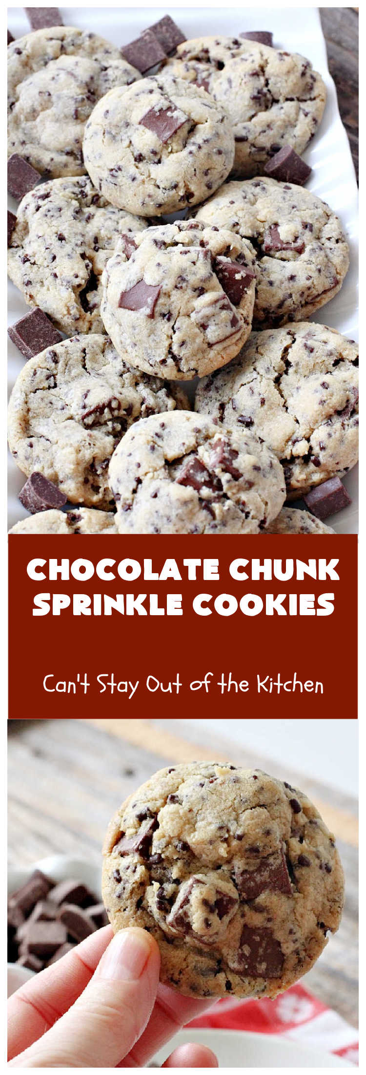 Chocolate Chunk Sprinkle Cookies | Can't Stay Out of the Kitchen | these outrageous #cookies are loaded with #chocolate chunks & chocolate #sprinkles. They use a #MrsFields #copycat cookie dough #recipe so they're absolutely amazing. #dessert #tailgating #ChocolateChunks #ChocolateDessert #ChocolateChipCookie #holiday #baking #ChocolateChunkSprinkleCookies