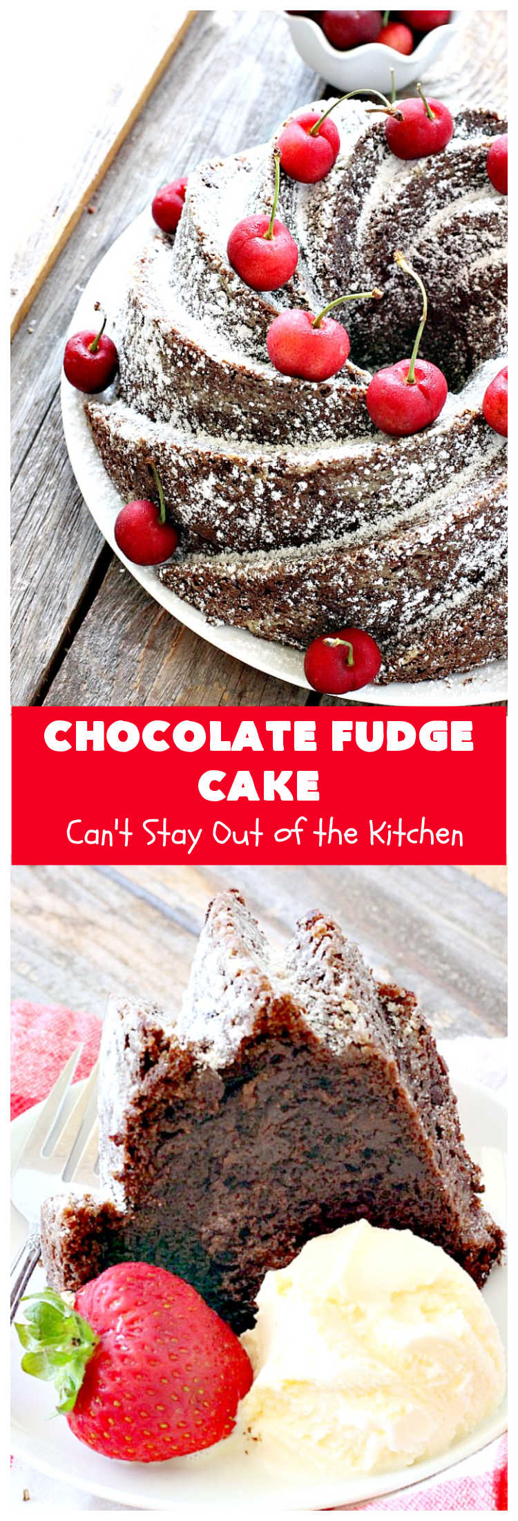 Chocolate Fudge Cake | Can't Stay Out of the Kitchen | This fabulous #chocolate #cake is incredibly fudgy since it includes a box of #ChocolatePudding and #ChocolateChips in the batter. Perfect for potlucks, backyard barbecues & #holiday parties. Quick & easy #dessert. #Holiday #HolidayDessert #ChocolateDessert #ChocolateFudgeCake #fudge