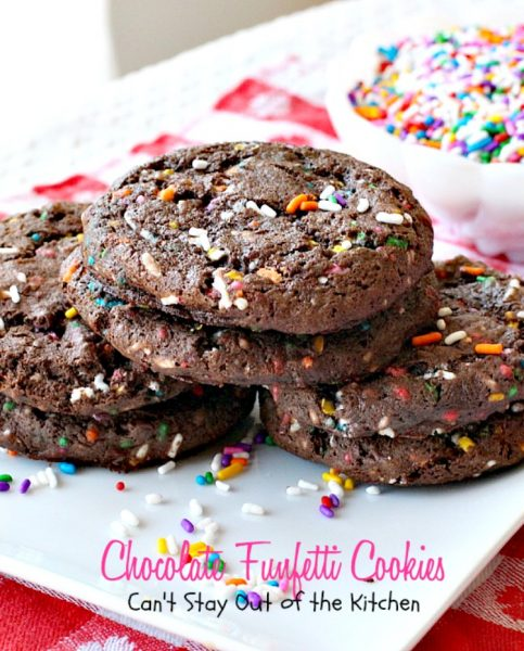 Chocolate Funfetti Cookies | Can't Stay Out of the Kitchen | spectacular #chocolate #cookies that start with a #cakemix and rainbow sprinkles. Quick, easy # delicious #dessert.
